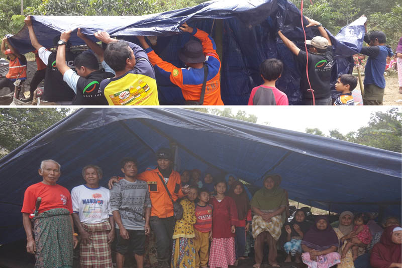 Mendirikan tenda dan berfoto. Terima kasih para donatur! Terima kasih ACT dan bapak2 relawan dari SERI dan AGL