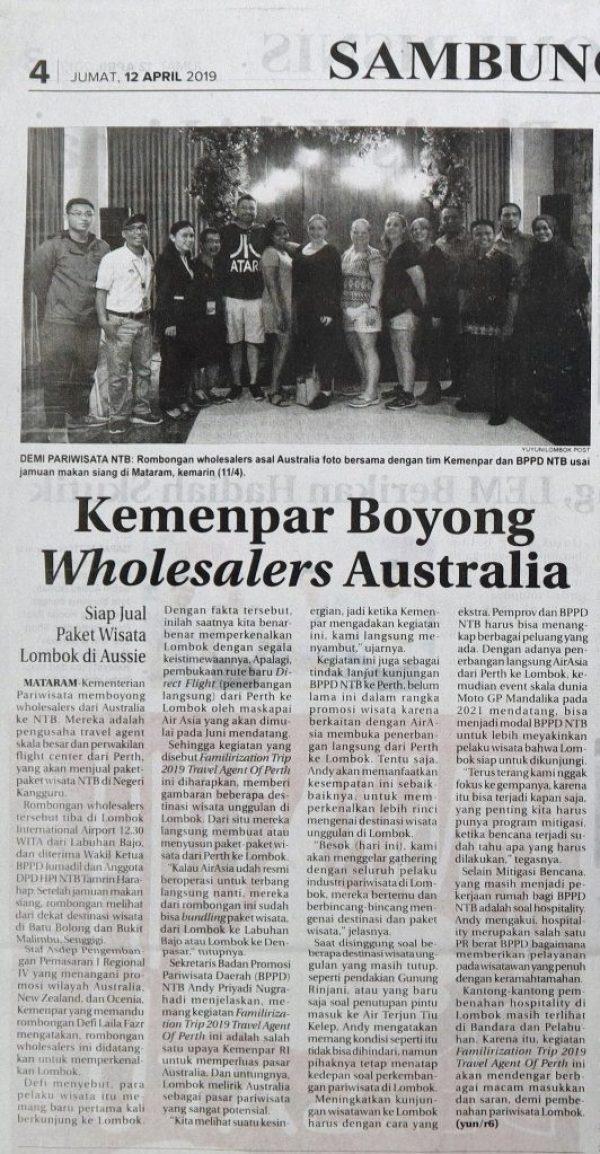 Australian Tour Operator came to Lombok for familiarization trip.