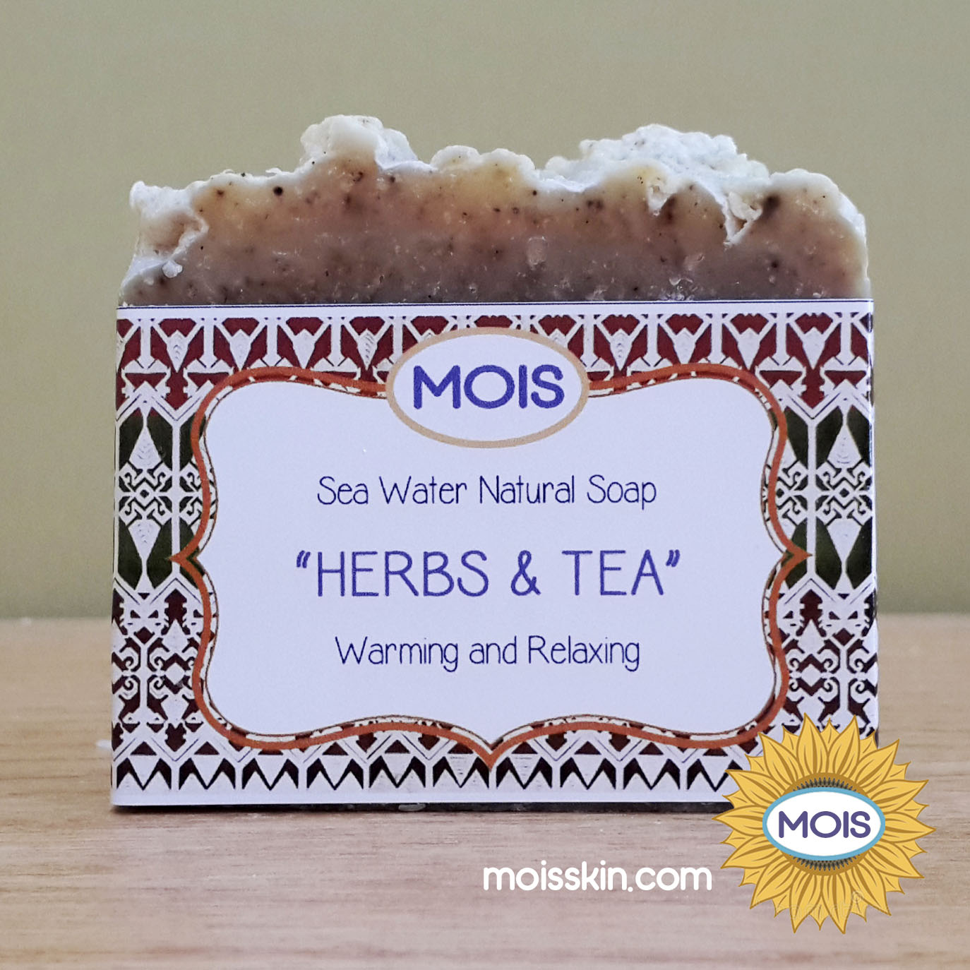 Made from herbs and tea, the scent of the soap is unique and calming. It cleans very well as well.